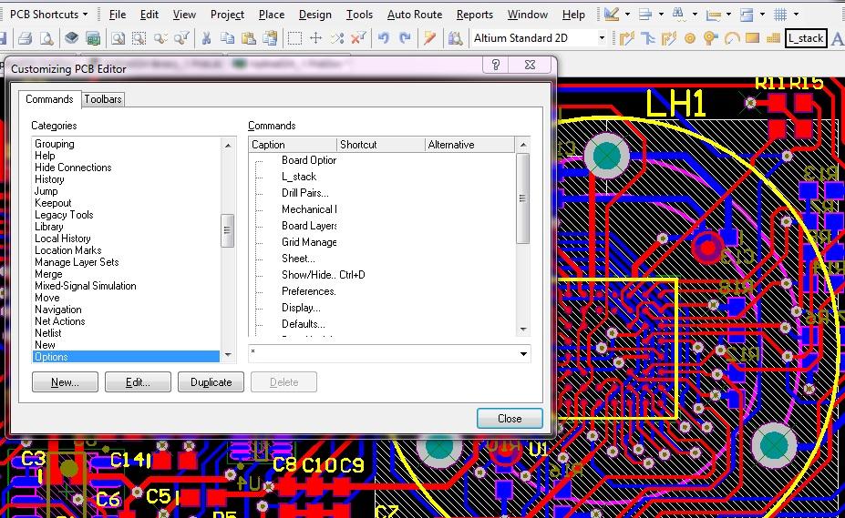 Customizing tools and menus in Altium
